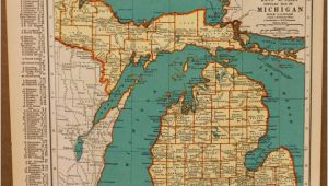 Centerline Michigan Map Rare Antique Detroit Michigan Map 1920 Vintage Collectible Map