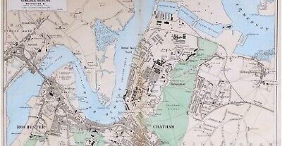 Chatham England Map 1769 Kent andrews Dury Herbert Antique Map original