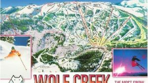 Colorado Ski Resort Map Locations Wolf Creek Ski Resort Colorado Trail Map Postcard Ski towns
