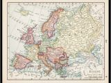 Colored Map Of Europe Small Antique Europe Map Of Europe European Map Wall Decor