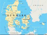 Copenhagen Map Of Europe Denmark Physical Wall Map Denmark On Map Of World