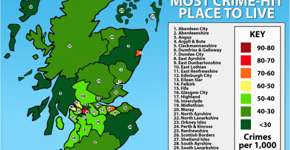 Crime Map northern Ireland Scotland S Most Dangerous and Safest Places to Live Uncovered as