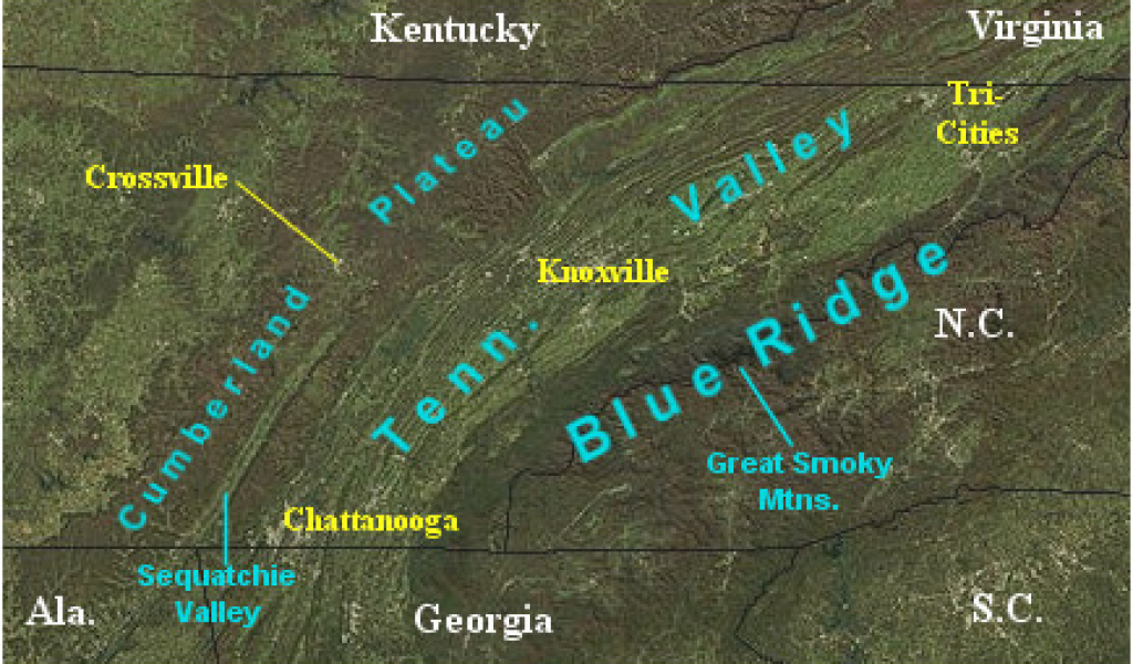 Map Of Georgia Landforms.Crossville Tennessee Map Landform Map Of Tennessee Major Landforms