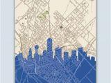Dallas Texas On Map Dallas Skyline Dallas Art Print Dallas Decor Dallas Poster