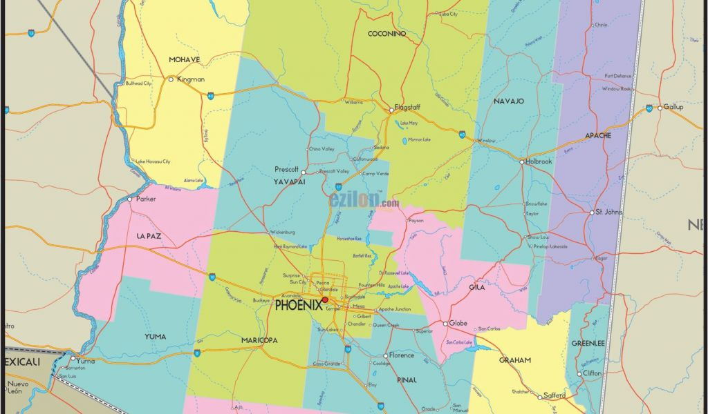 Detailed Map Of Arizona Usa Arizona County Map Awesome Us ...