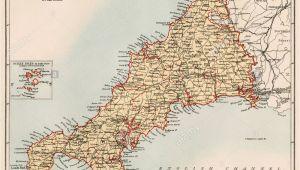 Detailed Map Of Cornwall England English Channel Map Stock Photos English Channel Map Stock