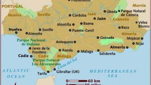Detailed Map Of southern Spain Map Of andalucia