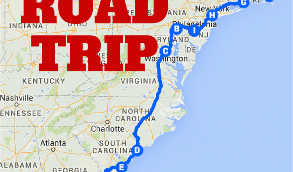 Driving Map Of Georgia the Best Ever East Coast Road Trip ...