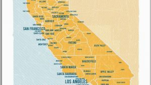 Encinitas California Map California Map 16 X20 Yellow Vintage Style Poster Locally
