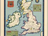 England Geographical Map the Booklovers Map Of the British isles Paine 1927 Map Uk