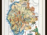 England Lake District Map England Map Jacques Liozu 1956 Lake District Wordsworth Great Britain United Kingdom Frameable Wall Art History Geography Teacher