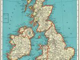 England On Map Of World 1937 Vintage British isles Map Antique United Kingdom Map