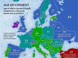 English Speaking Countries In Europe Map Age Of Consent by Country In Europe