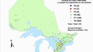 Environment Canada Radar Map Canadian National tornado Database Verified events 1980