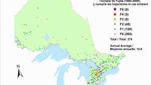Environment Canada Weather Stations Map Canadian National tornado Database Verified events 1980