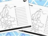 Fill In Europe Map the Countries and Capital Cities Of Europe Colour and Label