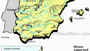 Geographic Map Of Spain Rivers Lakes and Resevoirs In Spain Map 2013 General Reference