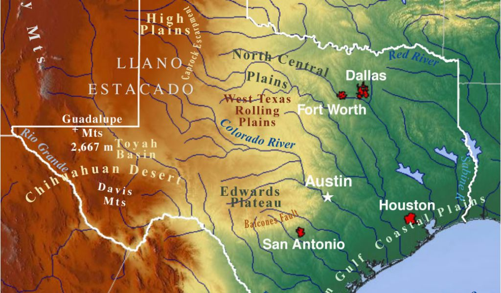 Geography Of Texas Map Geographical Maps Of Texas