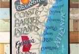 Georgia Barrier islands Map Georgia Barrier island Coast Map Print From An original Hand Painted