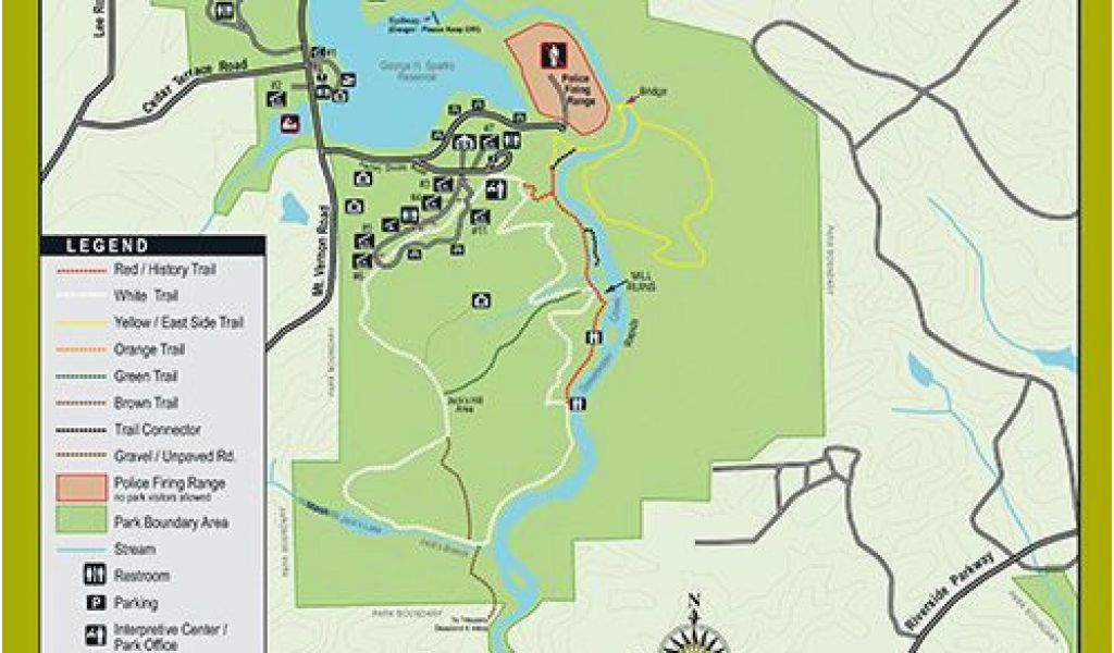 Georgia Hiking Trails Map Trails at Sweetwater Creek State