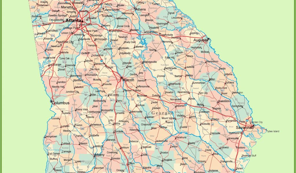 Georgia State Map Printable Georgia Road Map with Cities and