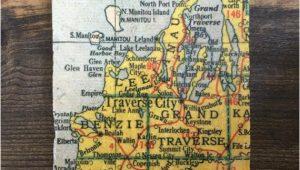 Glen Arbor Michigan Map Traverse City Michigan Map Coaster with Cork Backing Leelanau Etsy