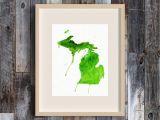 Hand Map Of Michigan Great Lakes State Michigan Watercolor Map Art Print Michigan