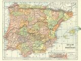 Historical Maps Of Spain Map Of Spain and Portugal From 1904 Vintage Printable Digital