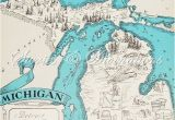 I 94 Map Michigan Vintage Reproduction Map Of Michigan Storiesdivinations Etsy Shop