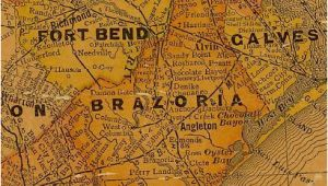 Indianola Texas Map Brazoria County and Ft Bend County Texas 1920s Map Texas History