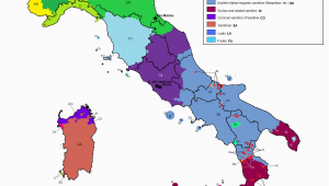 Italy On A Map Of Europe Linguistic Map Of Italy Maps Italy Map Map Of Italy Regions