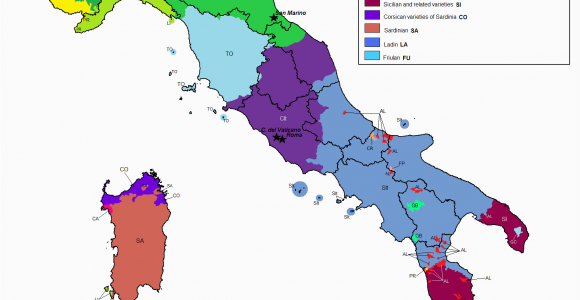 Italy On Europe Map Linguistic Map Of Italy Maps Italy Map Map Of Italy Regions