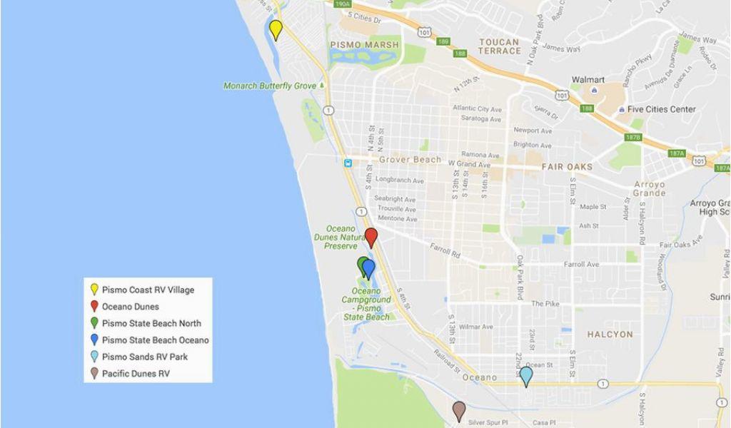 Koa Campgrounds California Map Pismo Beach Camping Campgrounds Rv