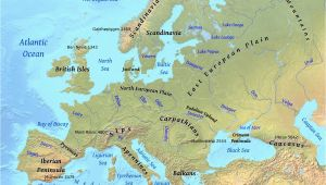 Labeled Physical Map Of Europe Europe Physical Features Map Casami