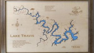 Lake Travis Texas Map Wood Laser Cut Map Of Lake Travis Tx topographical Engraved Etsy