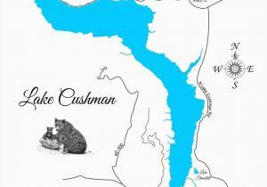 Lakes Italy Map Lake Cushman and Lake Standstill Washington Wood Laser Cut Map