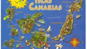 Lanzarote Spain Map Canary islands Spain Map Postcard In 2019 Lanzarote Canarian