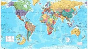 Large Wall Map Of Europe World Map Timezones Country Flags Giant Poster 100cm X 140cm