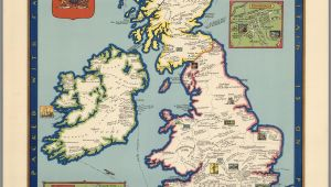 Literary Map Of England the Booklovers Map Of the British isles Paine 1927 Map Uk