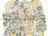 Madrid Spain World Map Madrid Map Book Illustration City Map Art by Jacques Liozu