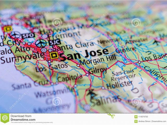 Major Airports In California Map San Jose California On Map Stock