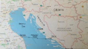 Map Croatia and Italy Travelling From Ancona Italy to Split Croatia Travel Ancona