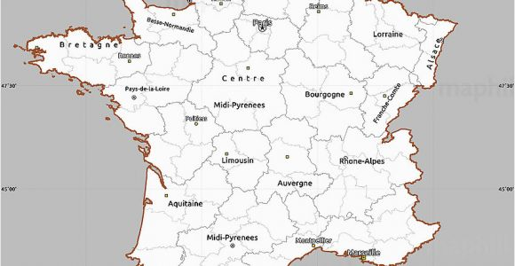 Map De France Regions Gray Simple Map Of France Cropped Outside