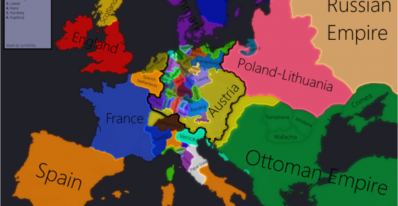 Map Of 1700 Europe Europe In 1618 Beginning Of the 30 Years War