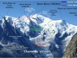 Map Of Chamonix France Routes Up Mont Blanc Mountaineering Climbing Mont Blanc