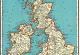 Map Of England and France 1939 Antique British isles Map Vintage United Kingdom Map
