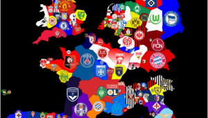 Map Of England Football Teams Map Of top Division Football Clubs In Major European Leagues