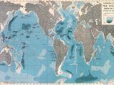 Map Of Europe Oceans World Ocean Depths Map Wallpaper Mural Home World Map