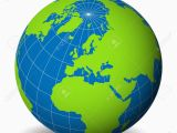 Map Of Europe Seas and Oceans Earth Globe with Green World Map and Blue Seas and Oceans Focused