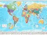 Map Of Europe with Time Zones World Map Timezones Country Flags Giant Poster 100cm X 140cm